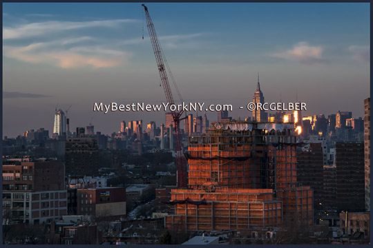 Manhattan Skyline Sunset behind atrociously ugly, new Atlantic Yards Construction
